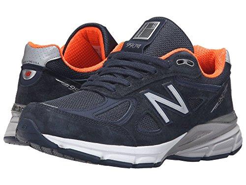 服を着るオーラル始める(ニューバランス) New Balance レディースランニングシューズ?スニーカー?靴 W990v4 Navy/Orange 10 (27cm) D - Wide
