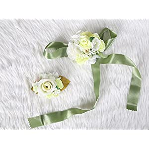 Wedding Prom Wrist Corsage Silk rose and Boutonniere Set Pin Ribbon Included (Green theme) 44