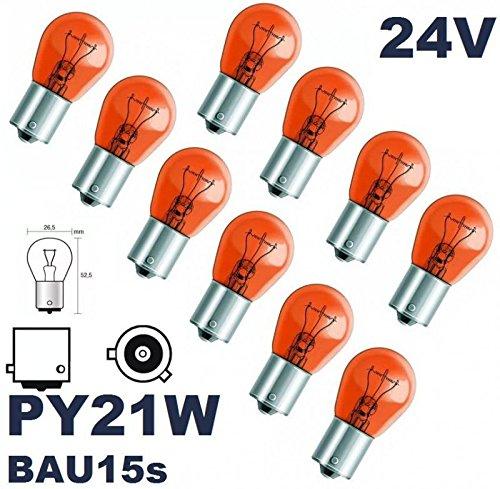 24 VOLT - 10 Stü ck - PY 21W - BAU15S - 21W - Gelb - 24V (versetzte Pins) Nfz LKW Beleuchtung - LONGLIFE - Glü hlampe, Glassockellampe, Glü hbirne, Soffitte, Lampen. Mit E-Prü fzeichen und ist fü r den Straß enverkehr zugelas