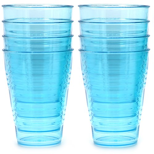 FLEXLINE 20oz Tumblers – Premium Reusable Break-Resistant Hard Plastic Cups – Set of 8 – Sky Blue Color – WholeMarket Quality