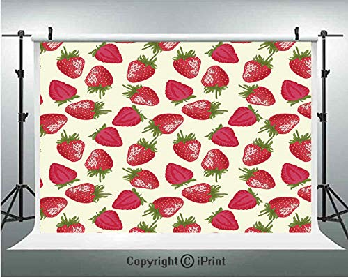 Fruits Photography Backdrops Strawberries Vivid Growth Plant Vitamin Organic Diet Refreshing Image Decorative,Birthday Party Background Customized Microfiber Photo Studio Props,10x6.5ft,Eggshell Red O