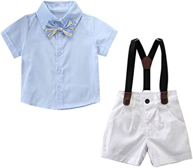 Bow Tie Gentlemen Wedding Party Clothes Sets Strap Pants Yilaku Newborn Baby Boys Outfit Set Page Boy Suits 3Pcs Romper Jumpsuit Shirt