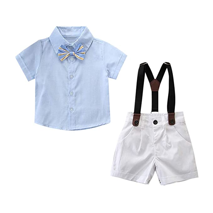 e36cc94d521a TLoowy-Clearance Gentleman Party Suit Toddler Kids Baby Boys Outfit Clothes  Bow Shirt Tops+Shorts Bib Overalls Pants Set (Light Blue
