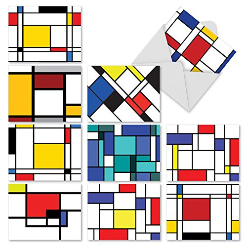 "10 Mondrian All Occasion 'Cubism' Thank You Cards with Envelopes, Assorted Greeting Cards with Rectangular Art in Primary Colors, Stationery for Weddings, Baby Showers, Holidays (4"" x 5 ¼"") #M2039"