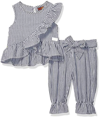 7 For All Mankind Kids Baby Girls Sleeveless Poplin Top and Matching Pant Set, Navy/White Stripe 24M