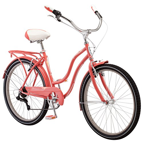 Schwinn Perla Women's Cruiser Bicycle, Featuring 18-Inch Step-Through Steel Frame and 7-Speed Drivetrain with Front and Rear Fenders, Rear Rack, and 26-Inch Wheels, Coral