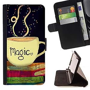 Dragon Case - FOR HTC Desire 820 - Coffee is magic - Caja de la carpeta del caso en folio de cuero del tir¨®n de la cubierta protectora Shell