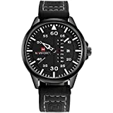 NAVIFORCE Original Genuine Leather Quartz Date Week Waterproof Sport Men's Wrist Watch 9074 Black White