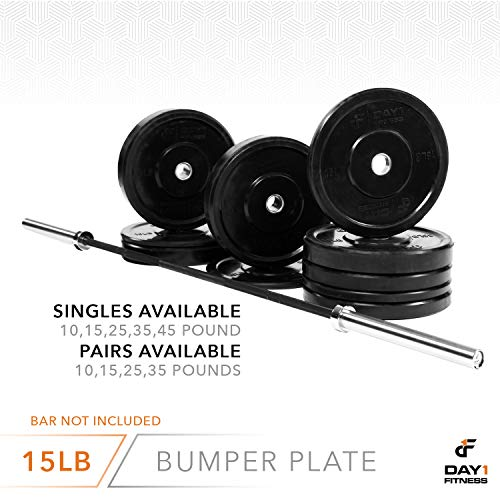 "Day 1 Fitness Olympic Bumper Weighted Plate 2"" for Barbells, Bars – 15 lb Single Plate - Shock-Absorbing, Minimal Bounce Steel Weights with Bumpers for Lifting, Strength Training, and Working Out by Day 1 Fitness (Image #5)"