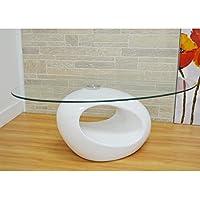 Kira Living Modern Glossy White Coffee Table