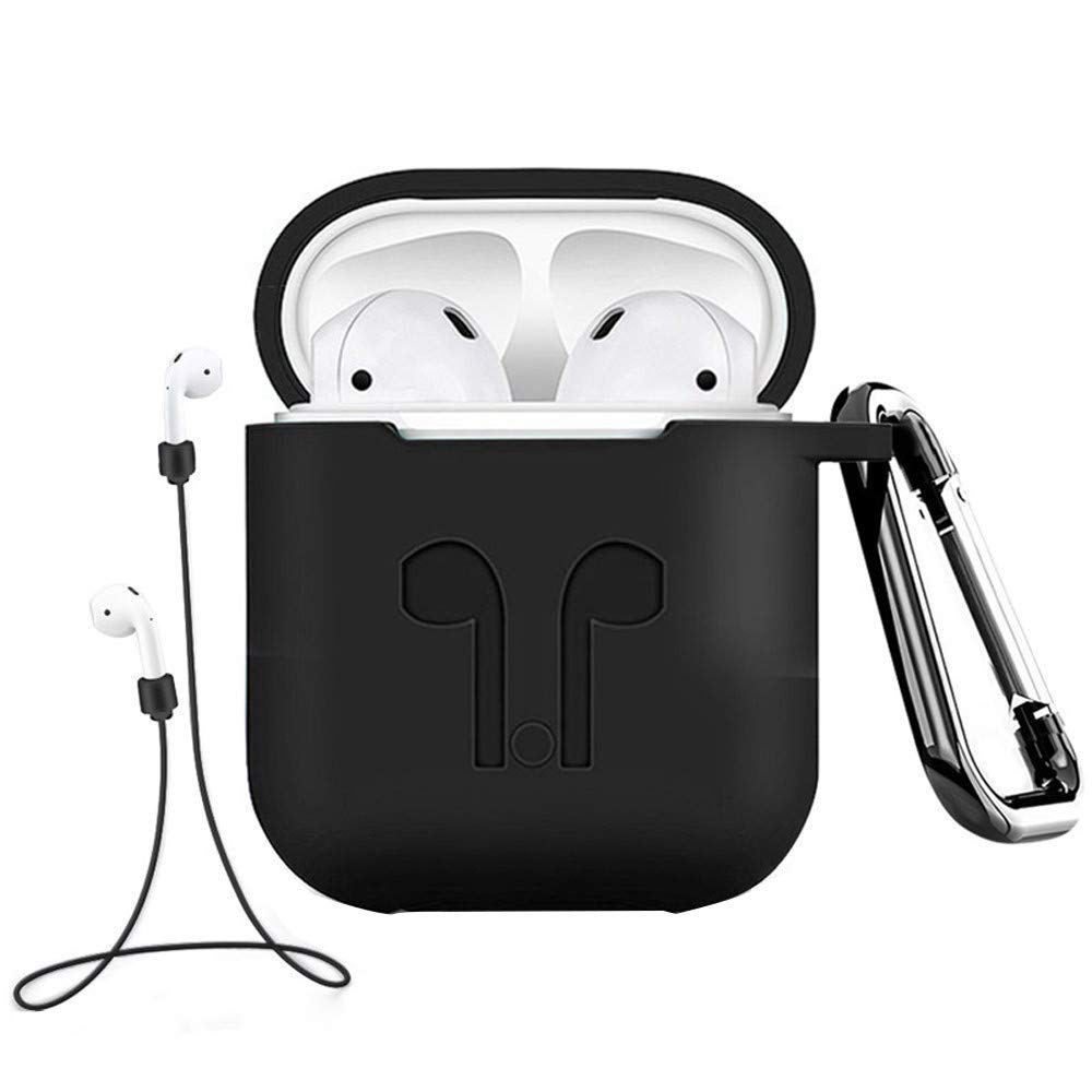 3Pcs 2018 New, Headphone Box, Compatible Earphone Case Cover for Apple AirPods Silicone (Black)