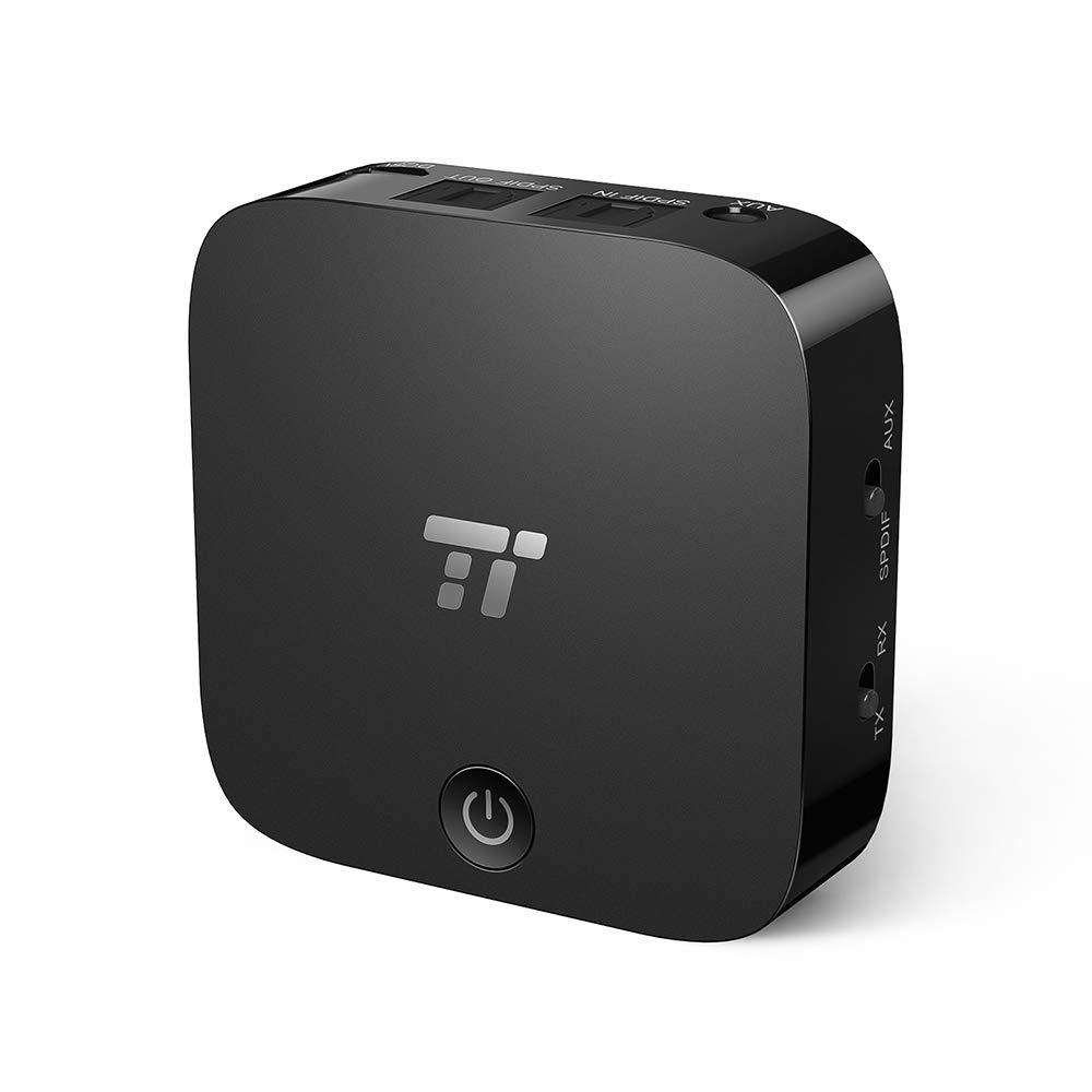 TaoTronics Transmisor y Receptor Digital /óptico por Bluetooth TOSLINK con Adaptador de Sonido inal/ámbrico de 3,5 mm para TV//Sistema est/éreo dom/éstico tecnolog/ía AptX de Baja latencia