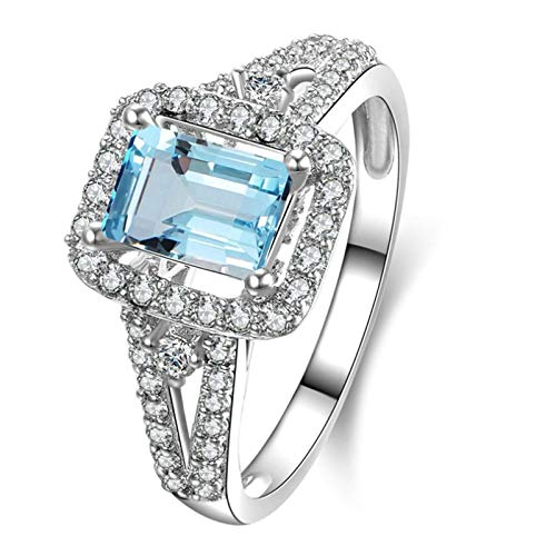 (Adisaer Women Engagement Ring 925 Sterling Silver Plated Solitaire WH 8X6Mm Square Blue Topaz Ring Size 6.5)