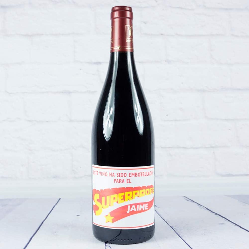 Calledelregalo Regalo Personalizable para Profesores: Botella de Vino para superprofes Personalizada con su Nombre (Botella Súper Profe Amarillo): Amazon.es: Hogar