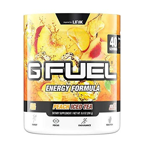 G Fuel Peach Iced Tea Tub (40 Servings) Elite Energy and Endurance Formula by Gamma Labs