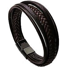 murtoo Leather Bracelet Magnetic-Clasp Cowhide Braided Multi-Layer Wrap Mens Bracelet, 7.5''-8.7''
