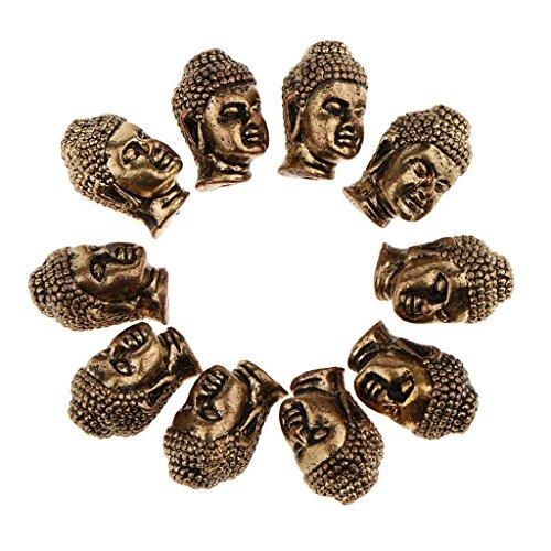 Baosity 10 Pieces Buddha Mini Spiritual Bead Spacer for Jewelry Making Bracelet (Mini Buddha Charm)