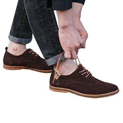 Shibever Uomo Pelle Oxford Classico Scarpe Casual Lacci Mocassini Marrone
