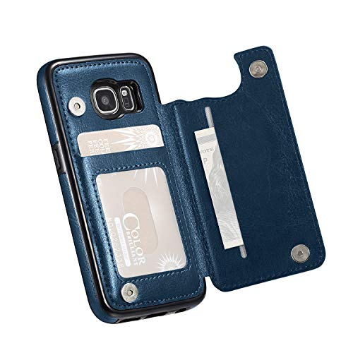 Incl Clasp - for Samsung Galaxy S7 Case (NOT Plus), Marval.P Slim Premium Leather Wallet Case Card Slots Shockproof Folio Flip Protective Defender Shell Magnetic Clasp Kickstand Holder Cover