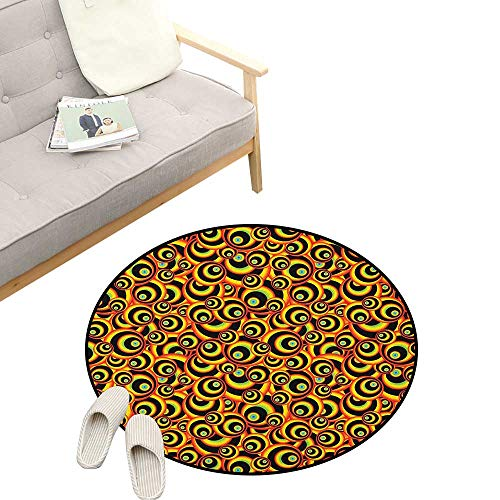 (Abstract Round Carpet ,Spiral Round Colorful Disc Shaped Geometric Forms Childish Hippie Style Bubbles, Kids Room Bedroom Bedside Rug 23