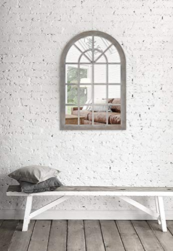 MCS 68874 Countryside Arched Windowpane Wall, Gray, 24x36 Inch Overall Size Mirror by MCS (Image #3)