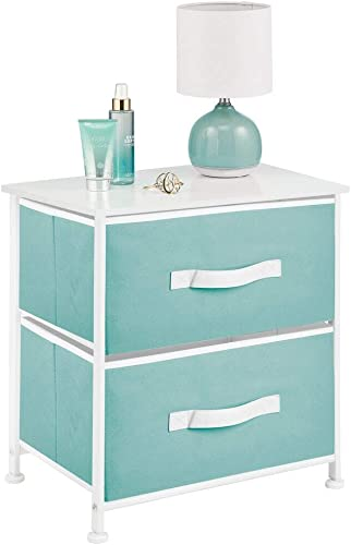 mDesign End Table Night Stand Storage Tower – Sturdy Steel Frame, Wood Top, Easy Pull Fabric Bins – Organizer Unit for Bedroom, Hallway, Entryway, Closets – 2 Drawers – Turquoise White