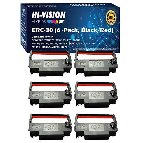 HI-Vision Compatible ERC 30/34/38 (Black/Red) Ink Ribbon Replacement (6 Pack) for ERC-30, M119, M119B, M119D, M133A, M270, M52JB, IT-U375, TM-200, TM-260