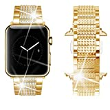 Dassions Band for Apple Watch Diamond Band, Rhinestone Luxury Diamond Stainless Steel Replacement Bands for Apple Watch 42mm 44mm Nike+ Series 4 Series 3 Series 2 Series 1 Edition (Gold, 42/44mm)