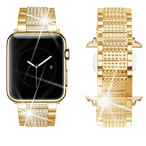 Dassions Band for Apple Watch Diamond Band, Rhinestone Luxury Diamond Stainless Steel Replacement Bands for Apple Watch 42mm 44mm Nike+ Series 4 Series 3 Series 2 Series 1 Edition (Gold, 42/44mm) ()
