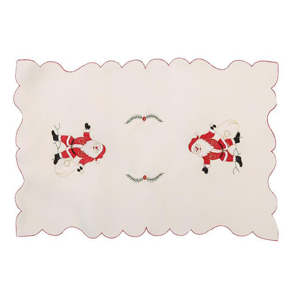 GlobalDeal Christmas Santa Claus Embroidered Hollow Table Placemats Coaster Cover Mat - Santa Claus