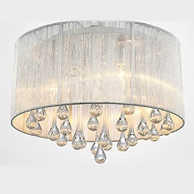 LightInTheBox Modern Crystal 4 Lights Pendant Light in Cylinder Shade Drum Style Home Ceiling Light Fixture Flush Mount Chandeliers Lighting for Bedroom, Living Room