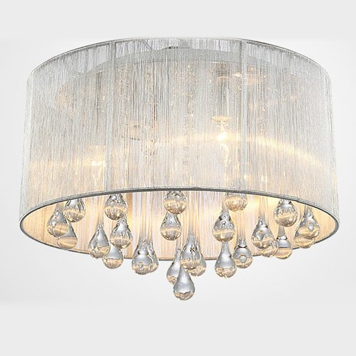 LightInTheBox Modern Crystal 4 Lights Pendant Light in Cylinder Shade Drum Style Home Ceiling Light Fixture Flush Mount Chandeliers Lighting for Bedroom, Living Room