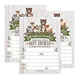 25 Cute Rustic Woodland Forest Animals Baby Shower Invitations, Printed Fill in The Blank Invites Girls Boy Gender Neutral Adventure Coed Nature Deer Bear Fox Themed Party Card Stock Paper Adventure