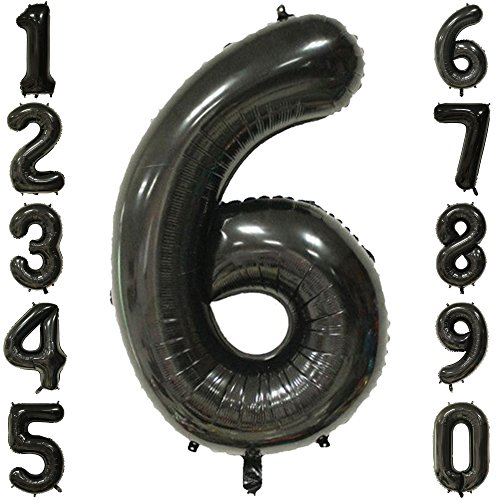 1973 OI 40 Inch Extra Giant Number Balloons Black Mylar Foil Large Number 6 Big Helium Balloon Birthday Party Decoration