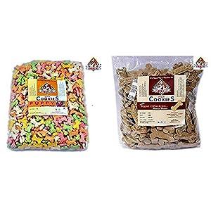 Nootie Combo of Assorted Flavor Cookies for Puppies, 1 kg & Chicken and Peanut Butter Cookies, 1kg