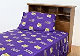 LSU Tigers Louisiana State Cotton Sateen Bed Sheet Set (Queen-Color)