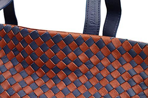 PAUL MARIUS geflochtenem Leder Handtasche - zweifarbig Braun / Blau LE TRESSAGE