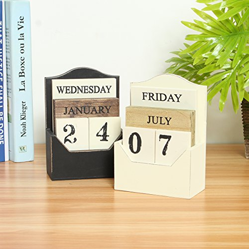 - CAVEEN Vintage Wooden Block Perpetual Calendar Desk Accessory Retro Chic Rustic Any Year/Month / Day Block Calendar for Home Office Decoration Black