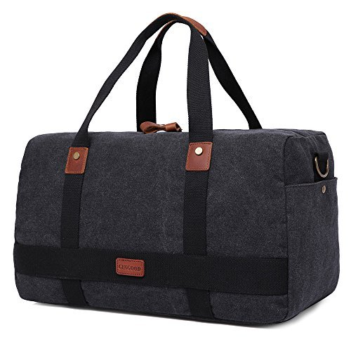 GINGOOD Canvas Travel Duffel Bag Leather Trim Weekend Bags #202 Black by GINGOOD (Image #1)