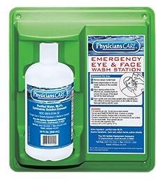 PhysiciansCare 24-202 Wall Mountable Eye Flush Station with Single 32 oz Bottle, 11-3/4\