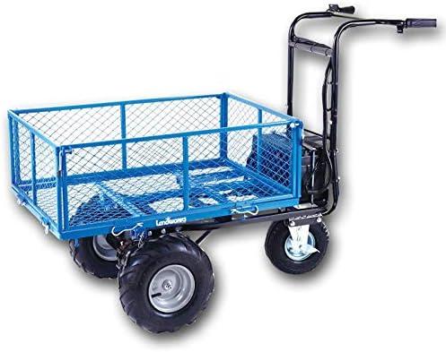 Landworks Utility Cart Hand Truck Power Wagon Super Duty Electric 48V DC 500W AGM Battery 500LBS 1000LBS Load Hauling Cap Wheelbarrow Barrel Dump w All Purpose Modular Cargo Bed