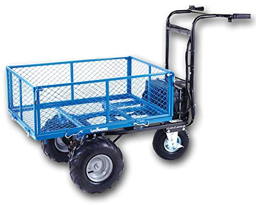 Landworks Utility Cart Hand Truck Power Wagon Super Duty Electric 48V DC 500W AGM Battery 500LBS & 1000LBS+ Load/Hauling Cap Wheelbarrow Barrel Dump w/All Purpose Modular Cargo Bed from Landworks