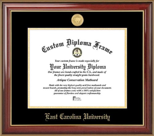- Laminated Visuals East Carolina University Pirates - Gold Medallion - Mahogany Gold Trim - Diploma Frame