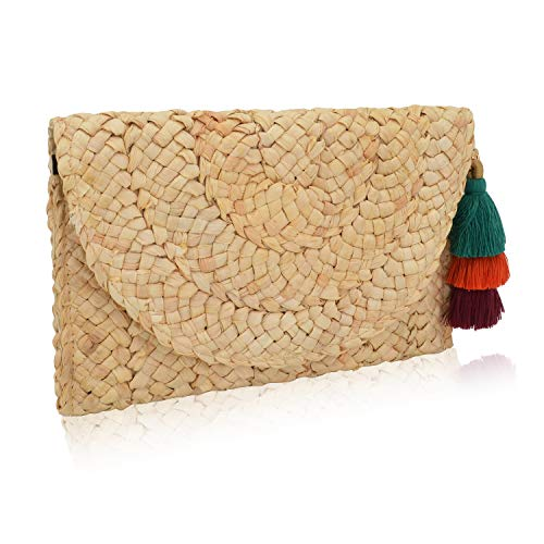 ELFJOY Women's Straw Clutch Bag Beach Purse with Tassel Envelope Handbag for Summer Wedding Gift (Beige+Tassel)