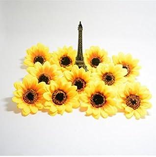 Amazon 100 silk yellow sunflowers sun flower heads gerber artificial flowers headsgerbera daisy flowers headssilk sunflowers sun flower heads for diy mightylinksfo