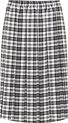 WearAll Women's Plus Pleated Check Tartan Print Stretch Elasticated Midi Skirt