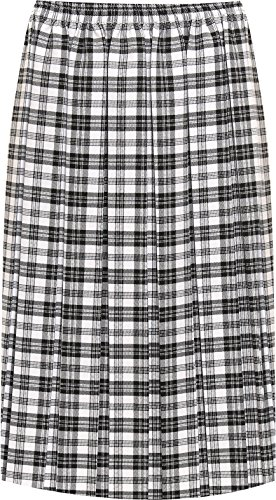 Check Print Skirt (WEARALL Women's Plus Pleated Check Tartan Print Stretch Elasticated Midi Skirt - Black - US 12-14 (UK 16-18))
