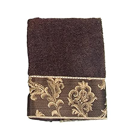 Amazon.com: Avanti Linens Damask Fringe Fingertip Towel, Mocha: Home & Kitchen