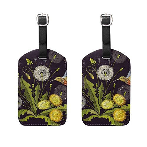 - Set of 2 Luggage Tags Embroidery Flower Hummingbird Suitcase Travel Accessories