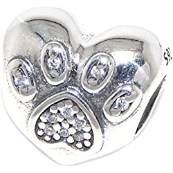925 Solid Sterling Silver 'I Love My Pet' Heart with Crystal Paw Print Charm Bead